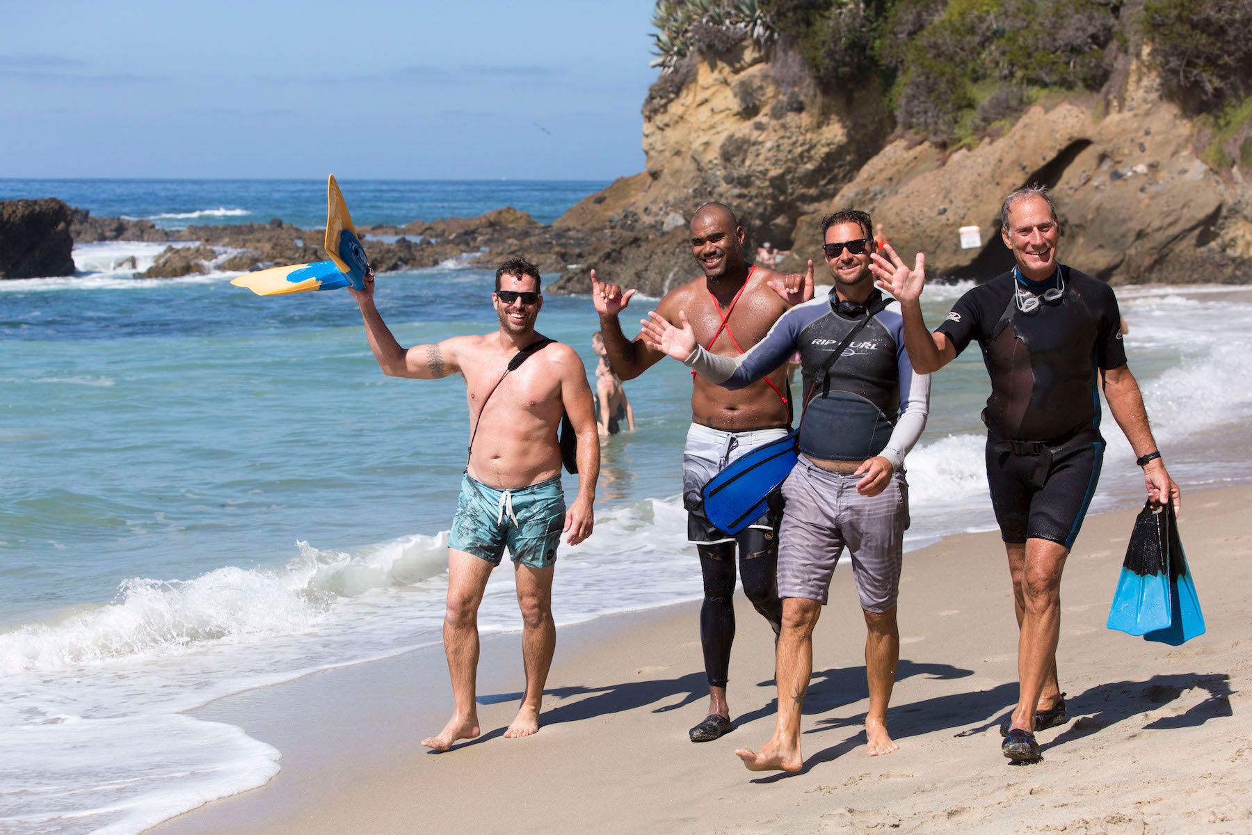 Aquathon participants friends