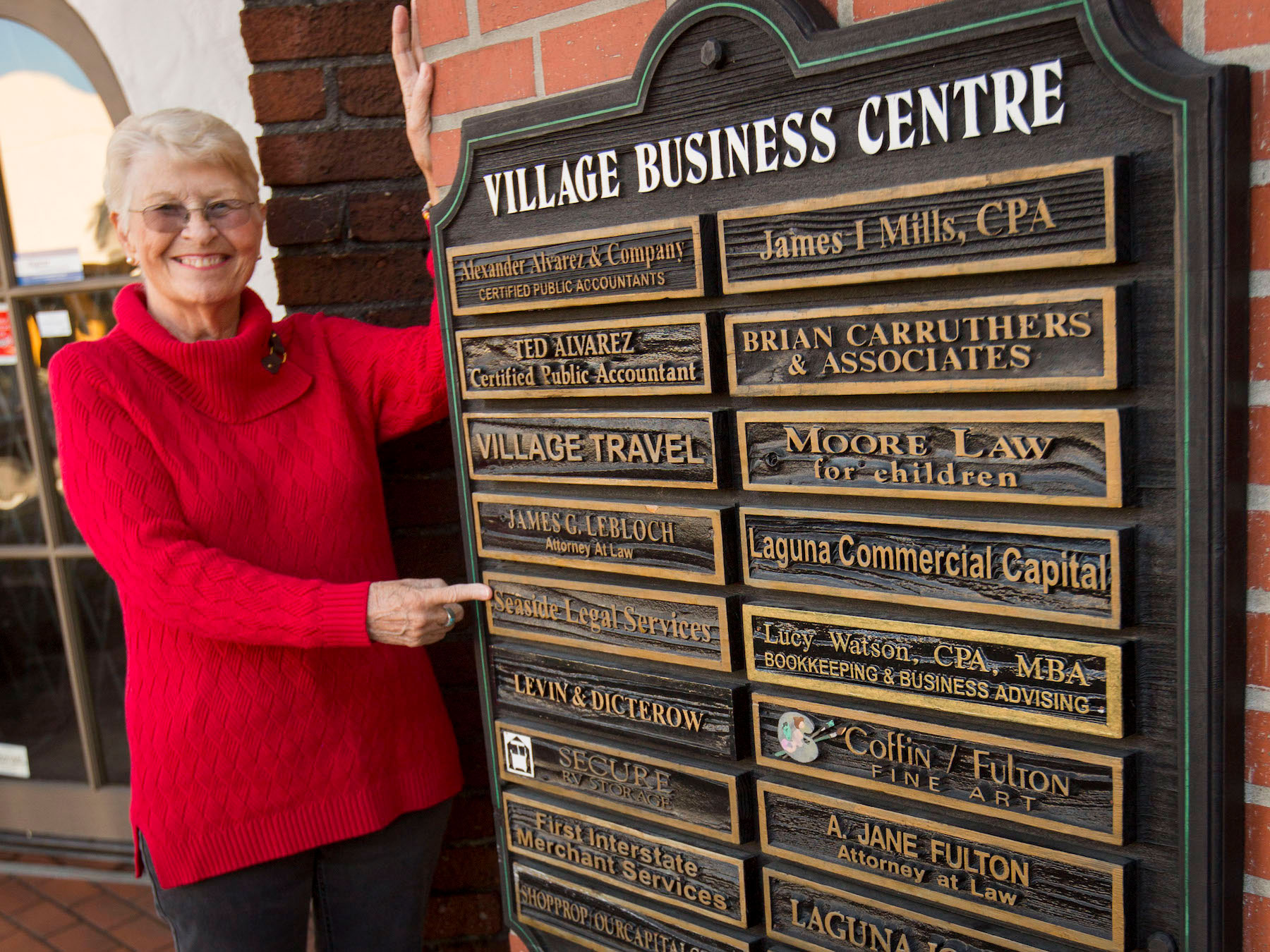 Jane Fulton with sign